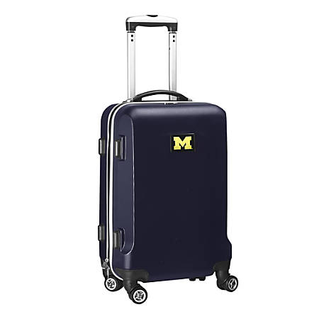 """Denco Sports Luggage NCAA ABS Plastic Rolling Domestic Carry-On Spinner, 20"""" x 13 1/2"""" x 9"""", Michigan Wolverines, Navy"""