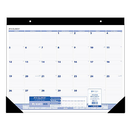 "AT-A-GLANCE® Monthly Desk Pad Calendar, 24"" x 19"", Blue/Gray, January To December 2020, SW23000"