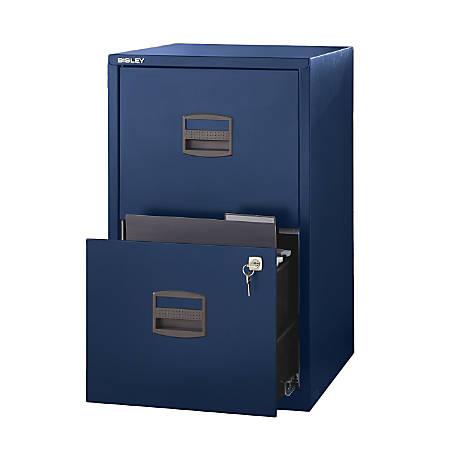 "Bisley 14-13/16""D Vertical 2-Drawer Under-Desk Storage Cabinet, Metal, Navy"