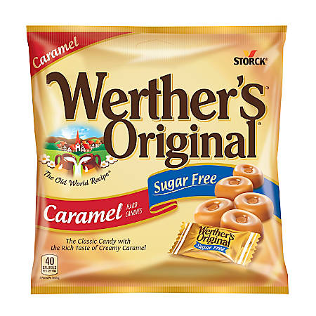 Werther's Original Sugar-Free Caramel Hard Candies, 1.46 Oz, Pack Of 12 Bags
