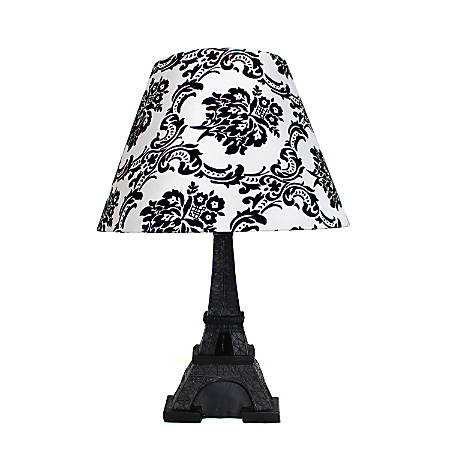"Simple Designs Eiffel Tower Paris Table Lamp, 16""H, Black and White Damask Shade/Black Base"