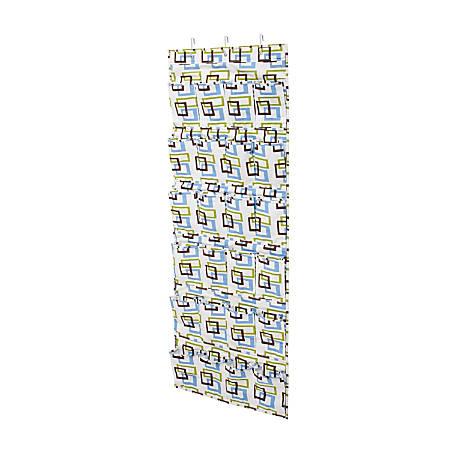 """Honey-Can-Do Over-The-Door 24-Pocket Closet Organizer, 57""""H x 21""""W x 2 1/2""""D, Blue/Brown/Green"""