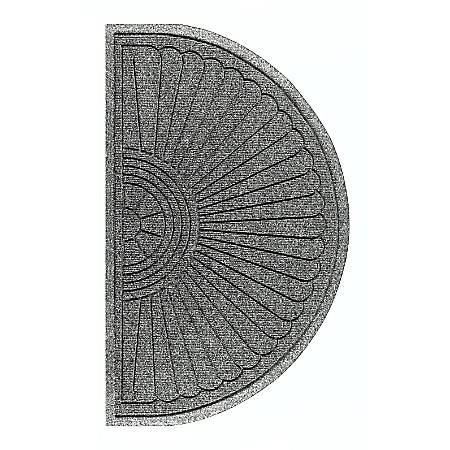 "M+A Matting Waterhog Eco Grand Premier Half-Oval Floor Mat, 36"" x 21 5/8"", Gray Ash"