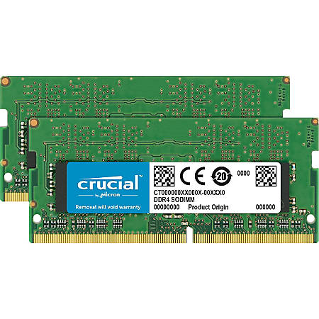 Crucial 16GB (2 x 8 GB) DDR4 SDRAM Memory Module - 16 GB (2 x 8 GB) - DDR4-2400/PC4-19200 DDR4 SDRAM - CL17 - 1.20 V - Non-ECC - Unbuffered - 260-pin - SoDIMM