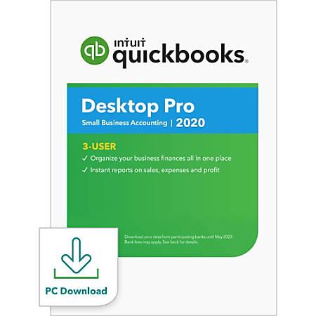 QuickBooks Desktop Pro 2020, 3 User, 1 Year Subscription, Windows, Download