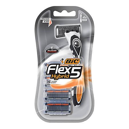 BIC® Men's Flex 5 Hybrid 5-Blade Razor, White