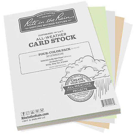 """Rite In The Rain All-Weather Card Stock, 8-1/2"""" x 11"""", Assorted Colors, 80 Sheets Per Ream"""