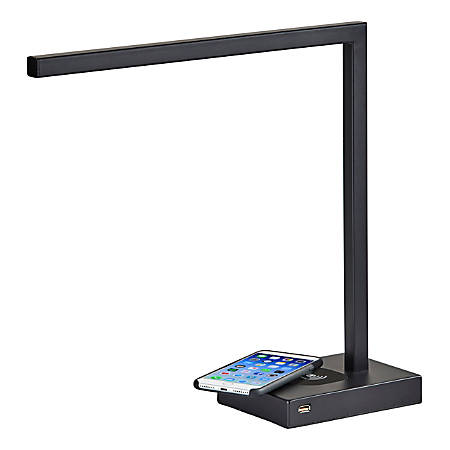 "Adesso® Aidan Wireless Charging Desk Lamp, 16""H, Black Base/Black Shade"