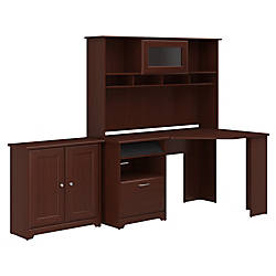 Bush Furniture Cabot Corner Desk With Hutch And Small Storage Cabinet With  Doors Harvest Cherry Standard Delivery By Office Depot U0026 OfficeMax