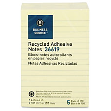 Business Source Yellow Adhesive Notes 4