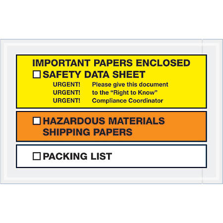 """Tape Logic® Preprinted Packing List Envelopes, SDS, Important Papers Enclosed, 6 1/2"""" x 10"""", Orange/Yellow, Case Of 1,000"""