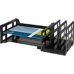 "Business Source Combo 2-Tray Vertical Organizer - 3.8"" Height x 14"" Width x 9.8"" Depth - Desktop - Recycled - Black - Plastic - 1Each"