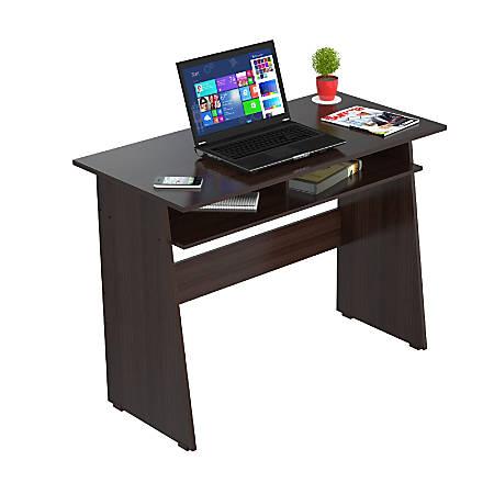Inval Contemporary Writing Desk With Storage Area, Espresso-Wengue