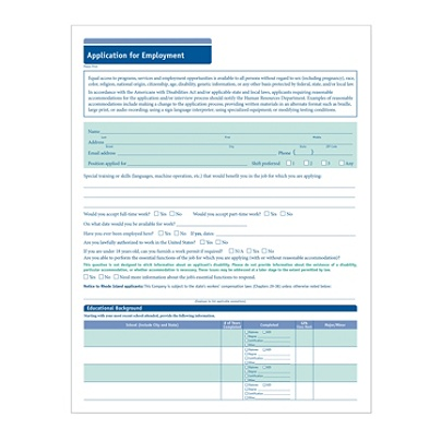 ComplyRight™ Short Job Applications, Pack Of 50 Item # 483226