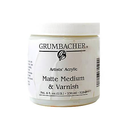 Grumbacher Artists' Acrylic Matte Medium And Varnish, 8 Oz