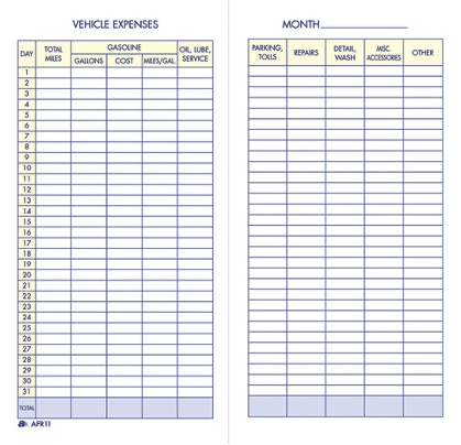 Adams Vehicle Expense Book By Office Depot OfficeMax