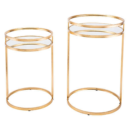 Zuo Modern Nesting Tables, Round, Mirror/Gold, Set Of 2 Tables