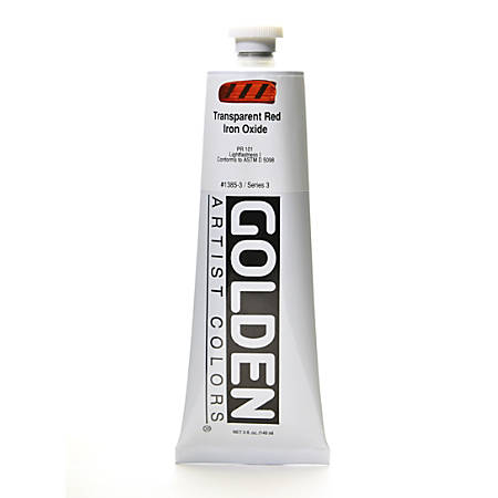 Golden Heavy Body Acrylic Paint, 5 Oz, Transparent Red Iron Oxide