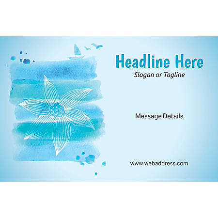Custom Perforated Window Decal Template, Blue Spa Flower 2