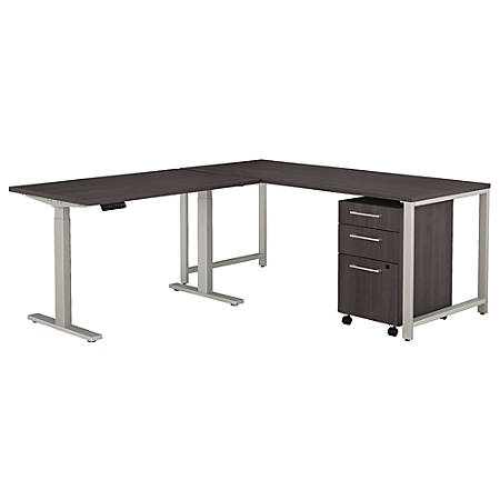 """Bush Business Furniture 400 Series 72""""W L Shaped Desk with Height Adjustable Return and Storage, Storm Gray, Premium Installation"""