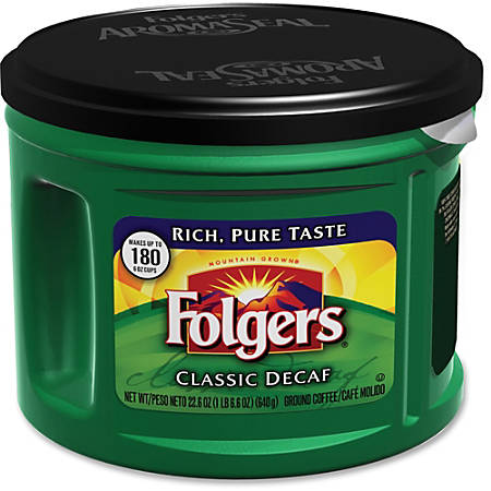 Folgers Classic Decaffinated Coffee - Decaffeinated - 22.6 oz - 6 / Carton