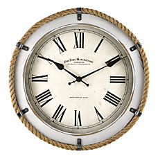FirsTime Co Whitewashed Rope Wall Clock