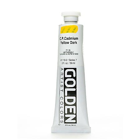 Golden Heavy Body Acrylic Paint, 2 Oz, Cadmium Yellow Dark (CP)