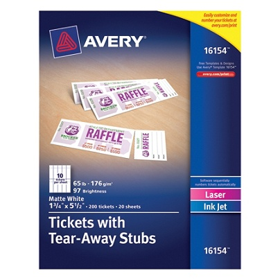Avery printable tickets 1 34 x 5 12 white pack of 200 by office avery printable tickets 1 34 x 5 12 white pack of 200 by office depot officemax maxwellsz