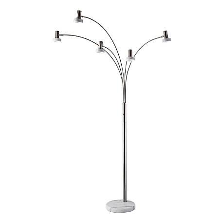 """Adesso® LED Arc Lamp, Miranda, 76"""", White Shade/Brushed Steel"""