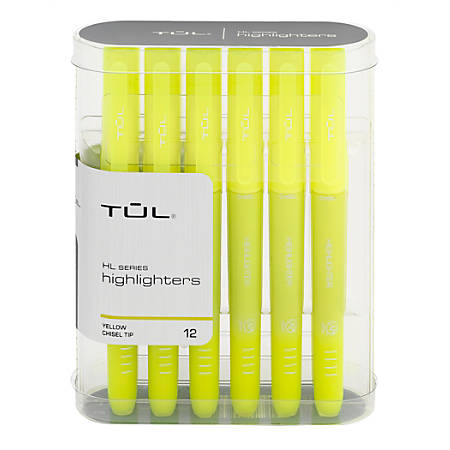 TUL® Highlighters, Chisel Point, Fluorescent Yellow Barrel, Fluorescent Yellow Ink, Pack Of 12 Highlighters