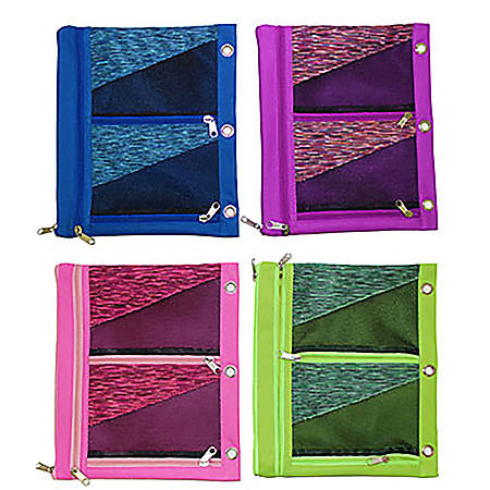"""Inkology Oversized Binder Pencil Pouches, 9-1/2"""" x 11"""", Assorted Colors, Pack Of 8 Pouches"""