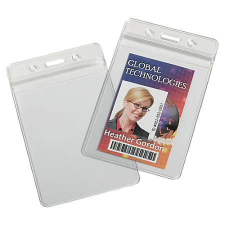 "SKILCRAFT® Resealable Badge Holders, 4""H x 4""W x 6""D, Clear, Box Of 25"