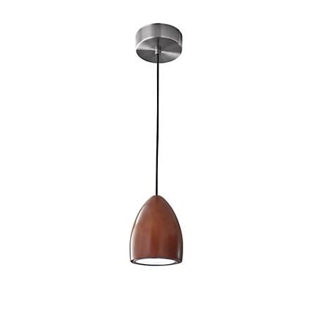 "Adesso® Cypress Hanging Pendant Lamp, Oval, 48""H, Walnut Pendant/Brushed Steel Base"