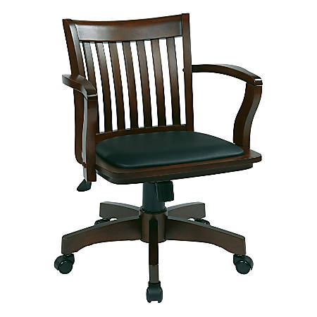Office Star™ Deluxe Wood Banker's Chair With Padded Seat, Black/Espresso