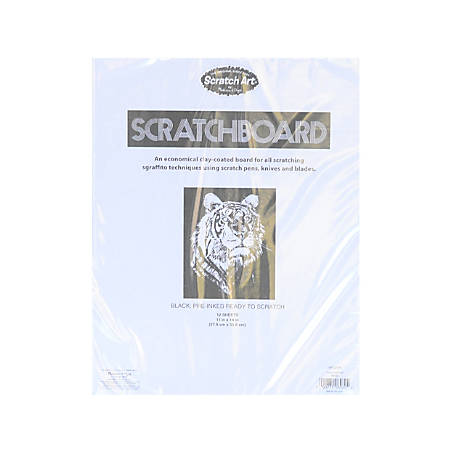"Scratch Art Black-Coated Scratchboards, 11"" x 14"", Black/White, Pack Of 12"