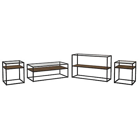 Bush Furniture Anthropology Coffee Table, Console Table and Set of 2 End Tables, Rustic Brown Embossed, Standard Delivery