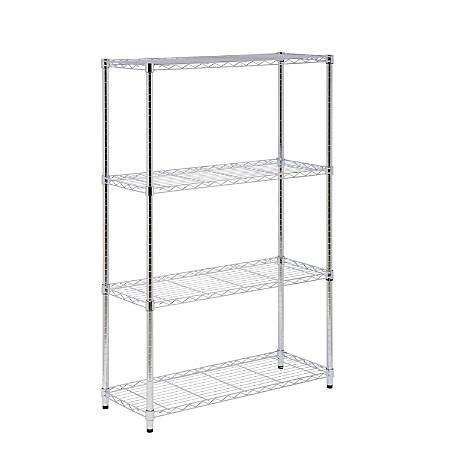 "Honey-Can-Do Urban Steel Adjustable Storage Shelving Unit, 4-Tiers, 54""H x 14""W x 36""D, Chrome"