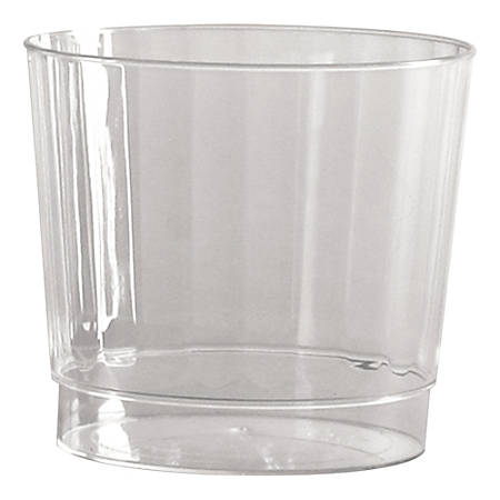 WNA Classic Crystal™ Plastic Fluted Tumblers, Rocks/Squat, 9 Oz, Clear, 12 Tumblers Per Pack, Carton of 20 Packs