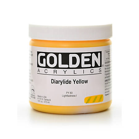Golden Heavy Body Acrylic Paint, 16 Oz, Diarylide Yellow