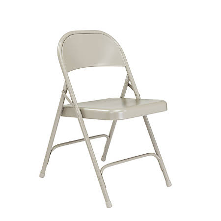 National Public Seating Series 50 Steel Folding Chairs, Gray, Set Of 4 Chairs