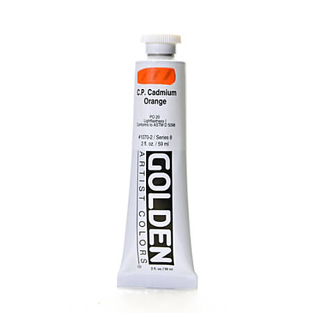 Golden Heavy Body Acrylic Paint, 2 Oz, Cadmium Orange (CP)