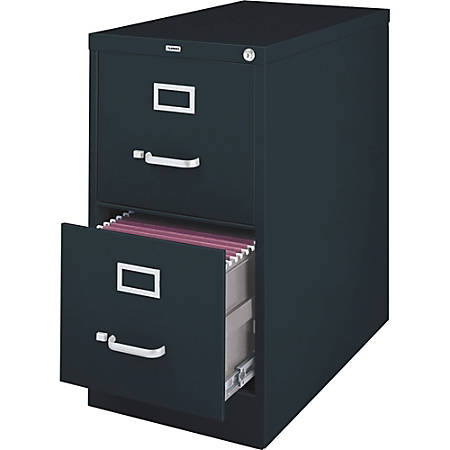 Lorell® Fortress Series 26 1/2''D 2-Drawer Legal-Size Steel Vertical File, Black