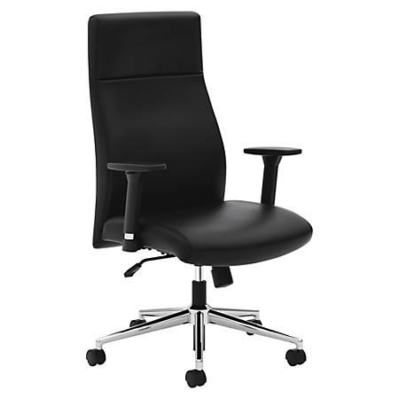 basyx by HON® Leather High-Back Chair, Black/Chrome