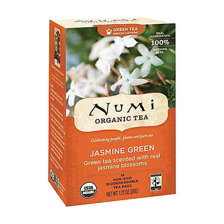 Numi Organic Jasmine Green Tea, Box Of 18