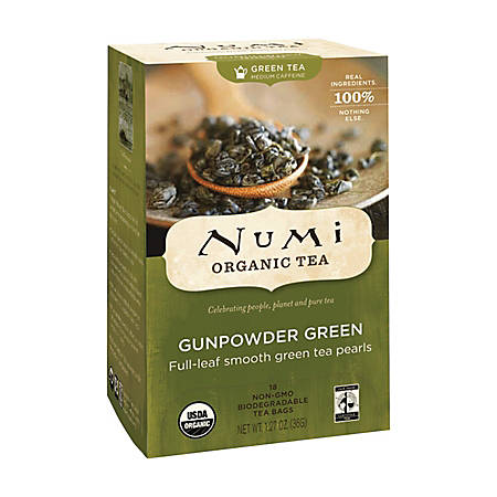 Numi Organic Gunpowder Green Tea, Box Of 18