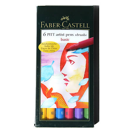Faber-Castell Pitt Artist Brush Pens, Basic, 6 Pens Per Set, Pack Of 2 Sets
