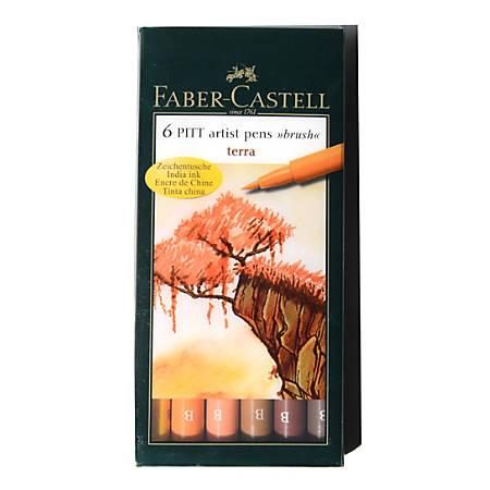 Faber-Castell Pitt Artist Brush Pens, Terra, 6 Pens Per Set, Pack Of 2 Sets