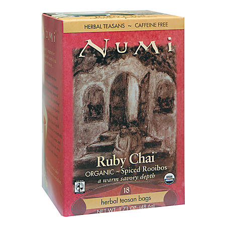 Numi Organic Ruby Chai Herbal Tea, Box Of 18