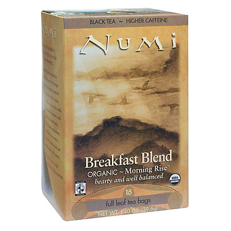 Numi Organic Breakfast Blend Black Tea, Box Of 18
