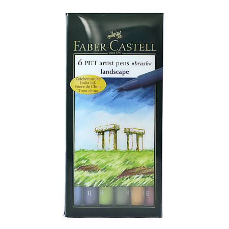 Faber-Castell Pitt Artist Brush Pens, Landscape, 6 Pens Per Set, Pack Of 2 Sets